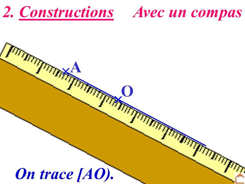 2. Constructions Avec un compas  A O  On trace [AO).